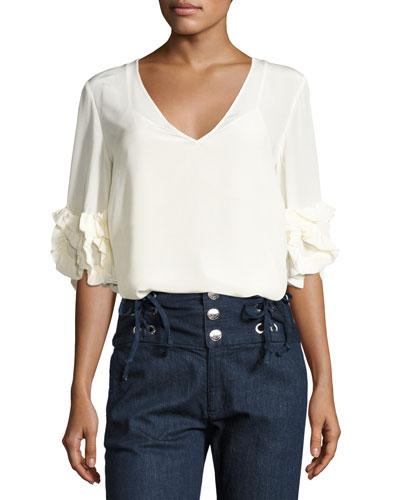 Half-Sleeve Fluid Silk Blouse, White