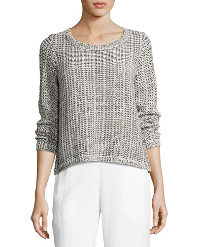 Eileen Fisher Crisp Organic Cotton / Linen Knit Box Top, Plus Size