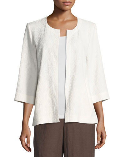 Double-Weave Crinkled Jacket, White, Petite