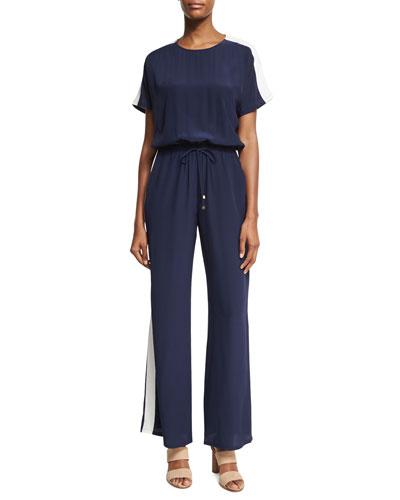 Colorblock Track-Stripe Silk Wide-Leg Jumpsuit, Blue