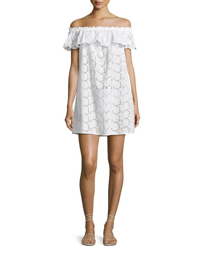 Broderie Coverup Dress, White