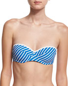 Regatta Underwire Bandeau Swim Top, Blue/White