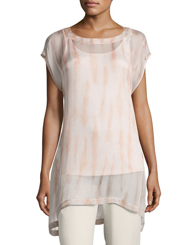 Cap-Sleeve Sheer Silk Shibori Tunic, Coral