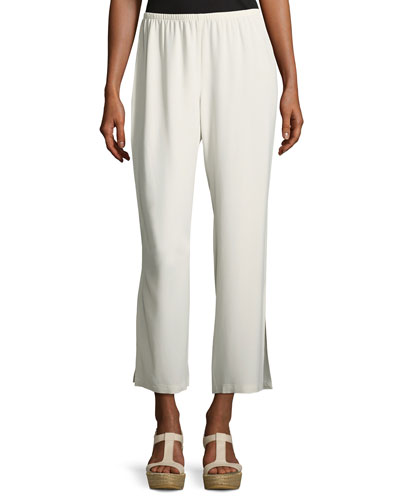 Silk Georgette Crepe Straight-Leg Ankle Pants, Bone