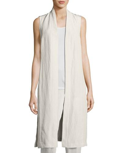 Long Sleeveless Organic Linen/Silk Kimono Vest