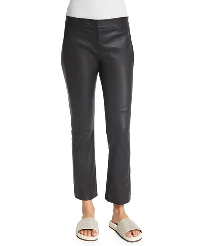 Flare-Leg Cropped Leather Pants, Volcano