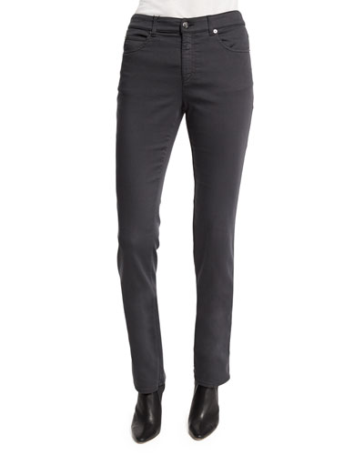 Five-Pocket Stretch Skinny Jeans, Gray