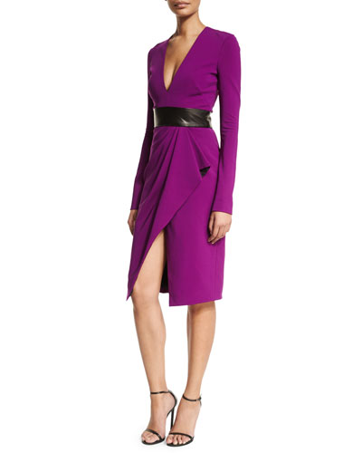 Long-Sleeve V-Neck Cocktail Dress, Orchid