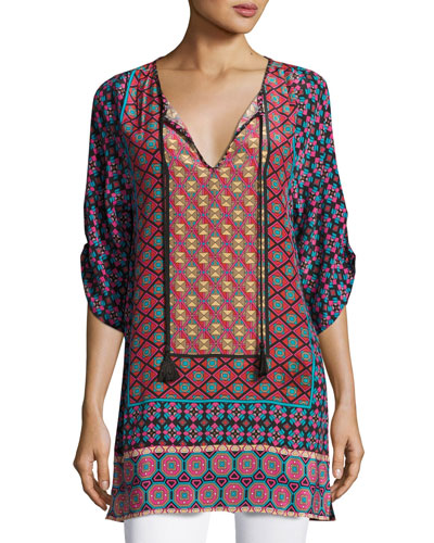 Courtney Silk Long Tunic, Plus Size