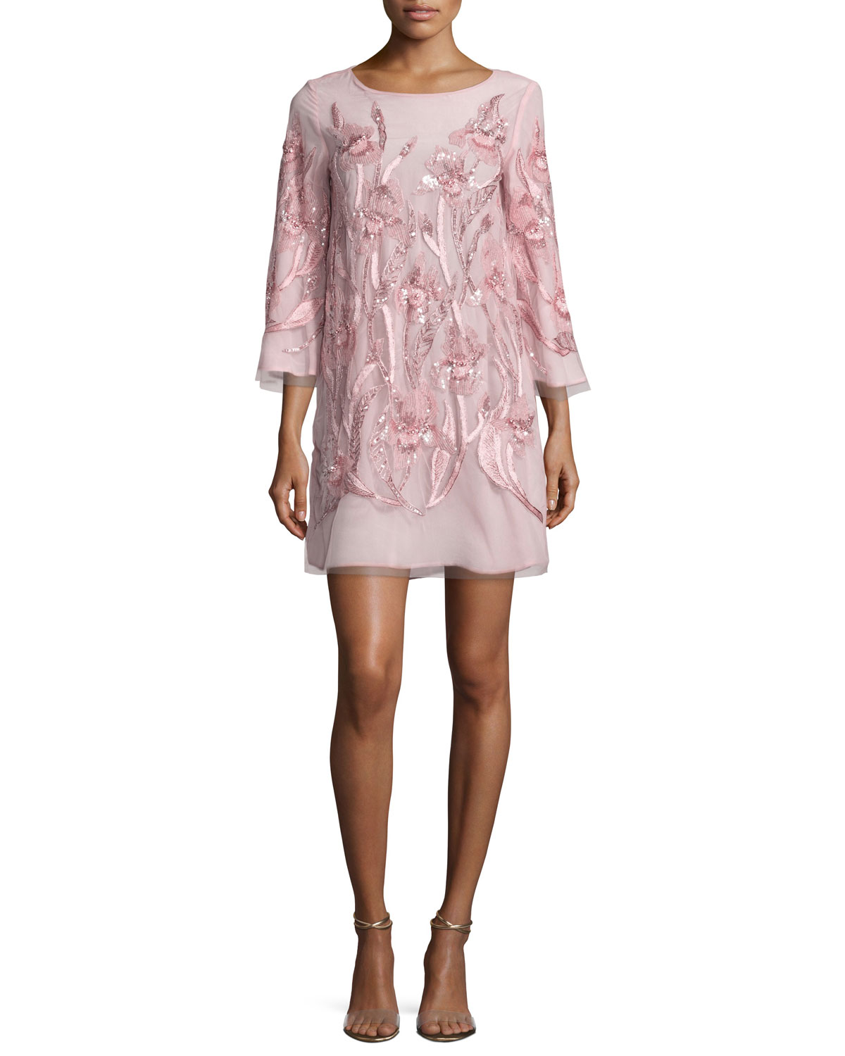 3/4-Sleeve Beaded Floral Cocktail Dress, Blush
