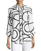 Graphic-Print Blouse, White/Black