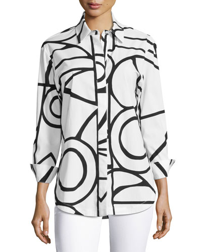 Graphic-Print Blouse, White/Black, Plus Size