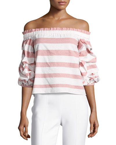 Juneau Wide-Stripe Off-the-Shoulder Top, Pink/White