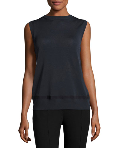Sleeveless Mixed-Media Top, Navy