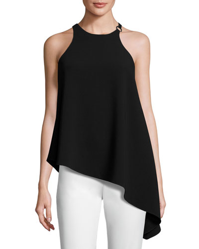Myra Sleeveless Asymmetric Top, Black