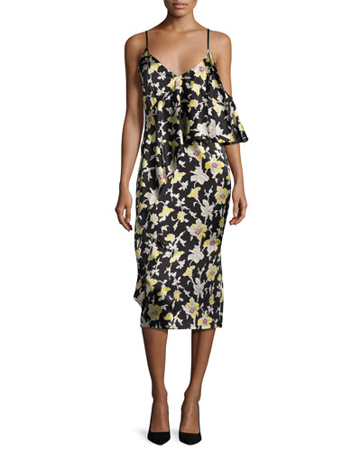 Zuri Floral Cold-Shoulder Slip Dress, Green/Black