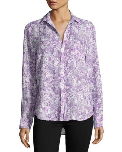 Eileen Floral-Print Shirt, Purple/Green