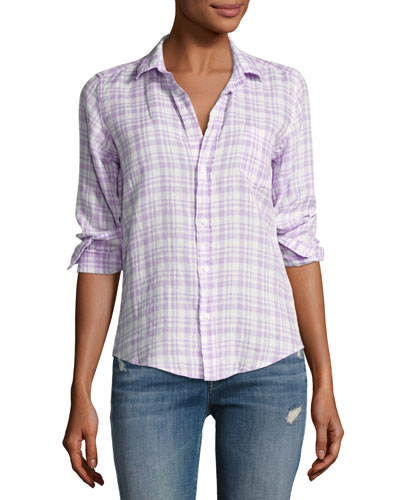 Barry Grid Check Oxford Shirt, Purple