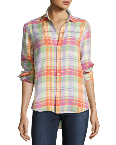 Eileen Plaid Pocket Shirt, Purple/Green/Orange