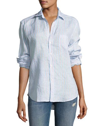 Eileen Multi-Stripe Shirt, Turquoise/Orange