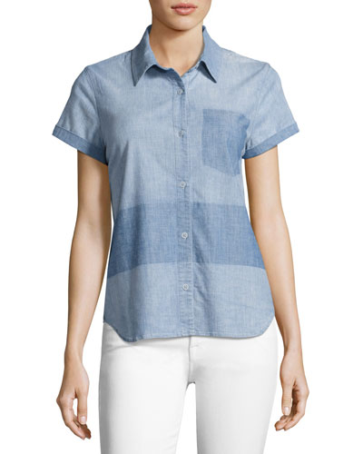 Wylie Two-Tone Denim Short-Sleeve Shirt, Blue