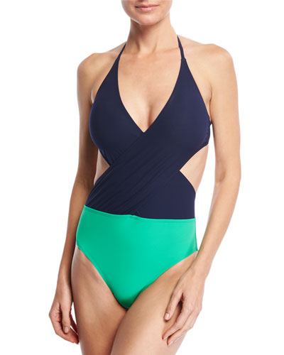 Colorblock Wrap-Front One-Piece Swimsuit