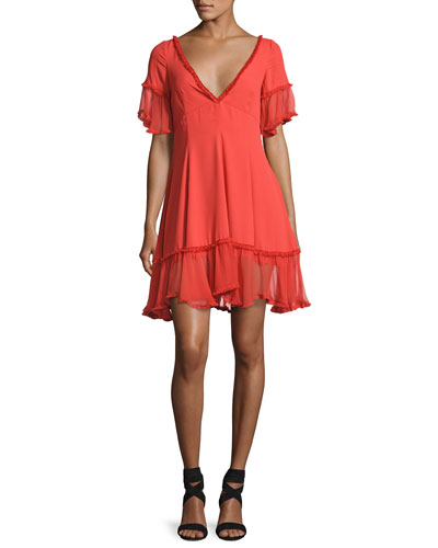 Dianne Silk Peasant Ruffle Dress, Red