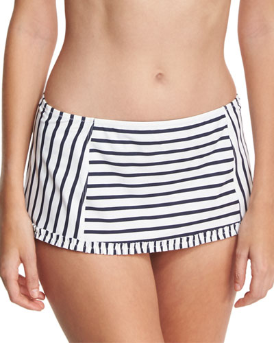 Sail Striped Skirted Swim Bottom, White/Blue