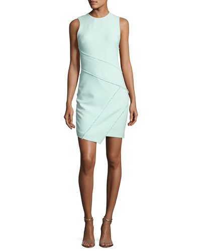 Josie Fringe-Trim Sleeveless Dress, Light Aqua Blue