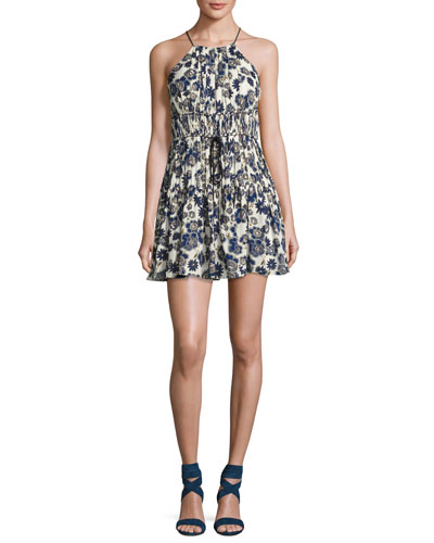 Lotus Floral Silk Sleeveless Mini Dress, Blue/White