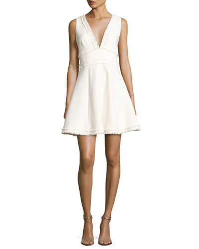Aurora Fringe-Trim V-Neck Fit & Flare Dress, Ivory
