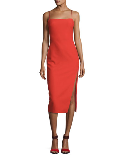 Cairen Side-Slit Slip Dress, Red