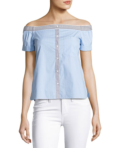 False Start Short-Sleeve Off-the-Shoulder Shirt, Sky