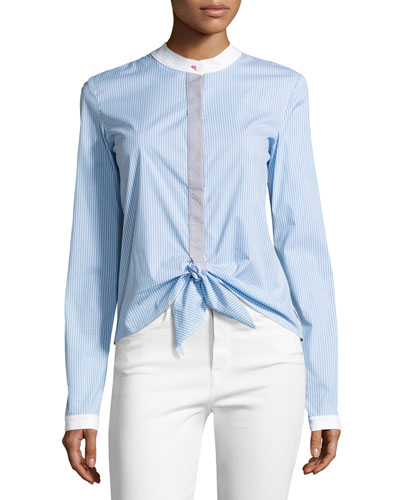 Homeostasis Striped Tie-Front Shirt, Sky