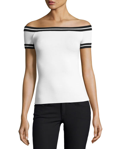Marathon Striped Off-the-Shoulder Bardot Top, White