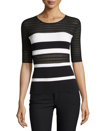 Staggered Start Striped Lace Short-Sleeve Sweater, Black/White