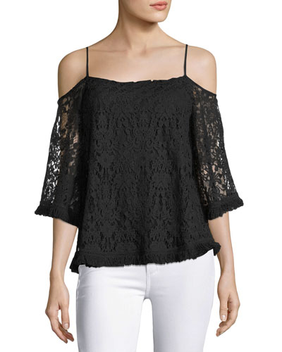 Tusk Lace Cold-Shoulder Top, Black