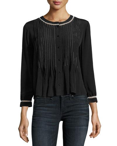 Nana Pintuck Shirt with Contrast Stitching, Black