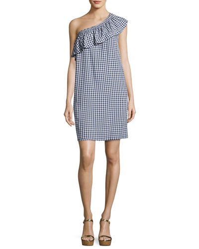 Virgie Gingham One-Shoulder Shift Dress, Navy Blue/White