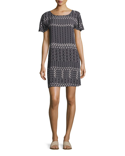 Melitta Corsica-Print Short-Sleeve Dress, Black
