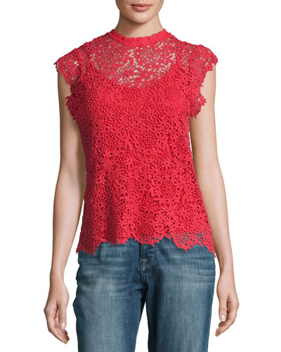 Allie Floral Lace Cap-Sleeve Top, Red