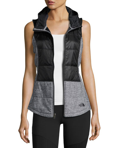 Pseudio Puffer Tunic Vest, Black/Dark Gray Heather