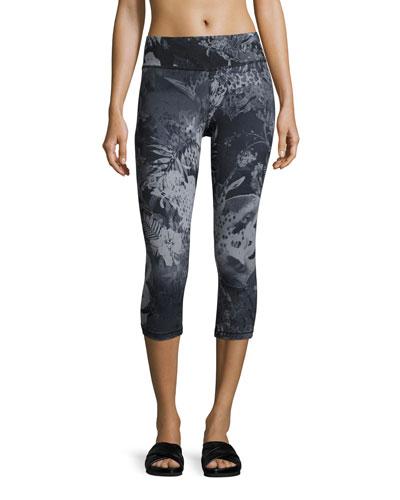 Motivation Printed Crop Sport Leggings, Black Pattern