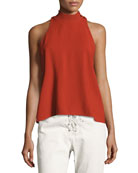 Olympia Mock-Neck Sleeveless Top, Brick
