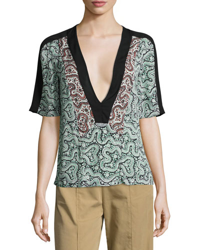 Lilias Short-Sleeve Abstract Silk Top, Green