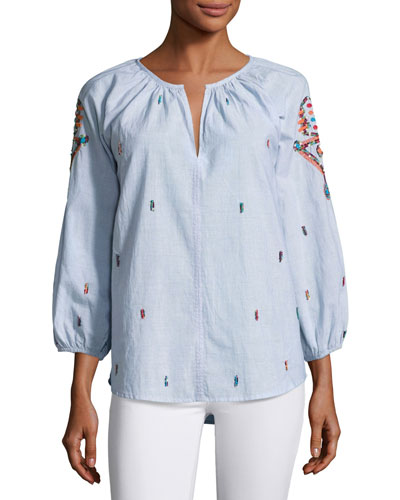 Shailene Embroidered Micro-Stripe Top, Blue