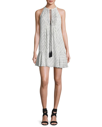 Hadley Sleeveless Printed Silk Flounce Dress, White/Black