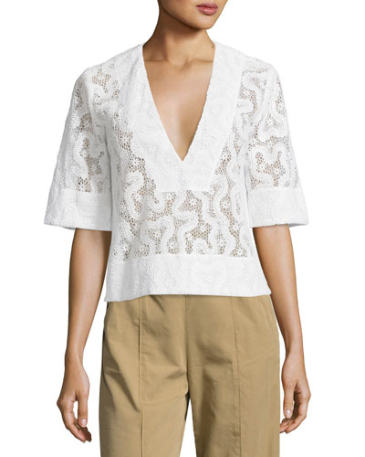 Virginia Cropped Abstract Lace Top, Eggshell