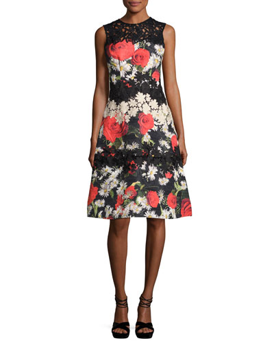 Sleeveless Floral Jacquard A-Line Cocktail Dress, Black/Multicolor