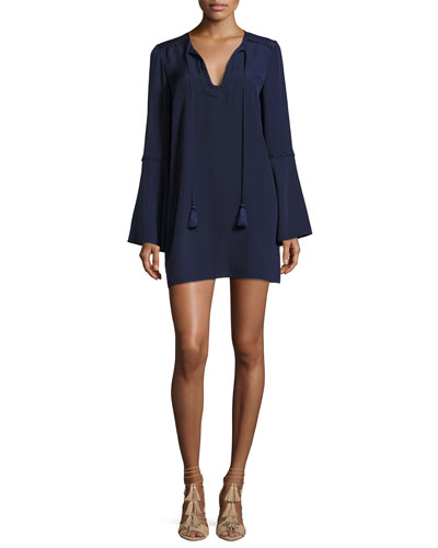Adair Bell-Sleeve Short Dress, Navy